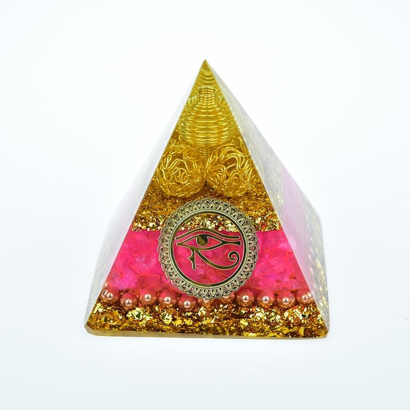 Orgonita generadora de energía de pirámide de cristal Natural, de corazón Girl...