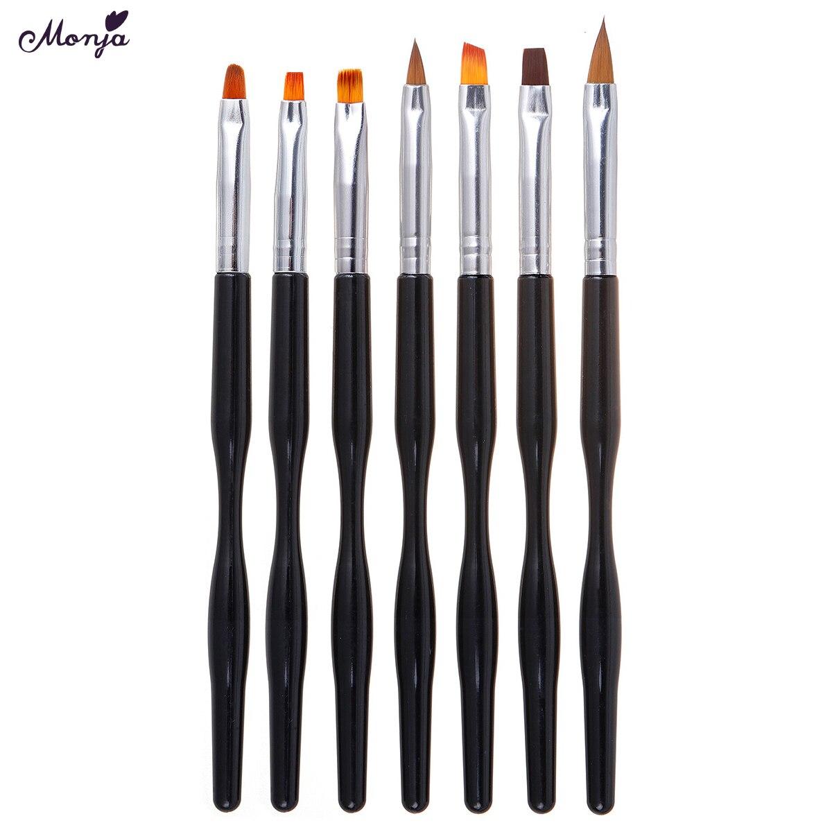 Monja 7 pièces/ensemble noir poignée Nail Art liquide poudre sculpture brosse acrylique UV GEL Extension constructeur peinture stylo manucure outil