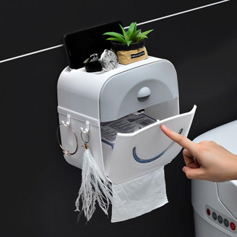 Caja de pañuelos impermeable para baño, porta toallas, caja de almacenamiento montada en la pared, accesorios de baño, cajón de plástico, papel múltiple