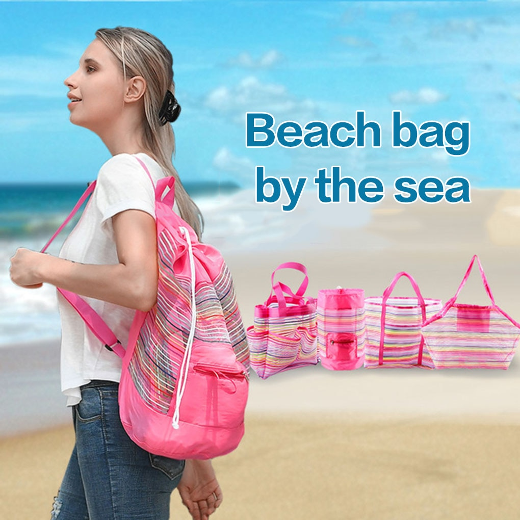 Foldable Portable Beach Bag Mesh Design Beach Pouch Children Toys Storage BagHandbag Type Swimming Bag