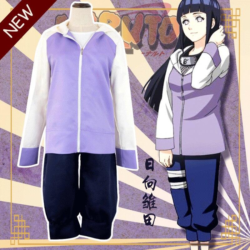 Anime Naruto Cosplay disfraz Hyuga Hinata uniformes Naruto Shippuuden Hinata Hyuga 2ª generación conjunto completo para mujeres pantalones de anime
