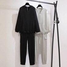 Automne iong manches vêtements de sport femmes grande taille buste 157cm 6XL 7XL 8XL 9XL 10XL ample safari vêtement de sport style femmes noir gris
