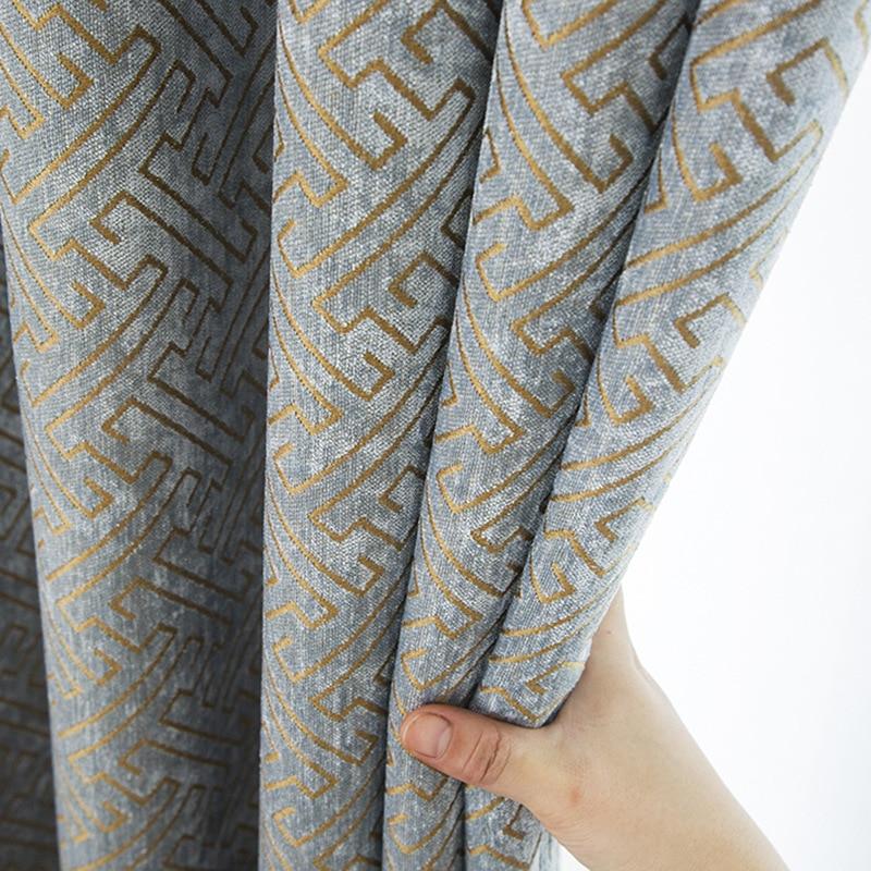 Cortina de chenilla Jacquard para dormitorio opaca geométrica sólida cortina para ventana francesa de doble cara más gruesa cortinas M131C