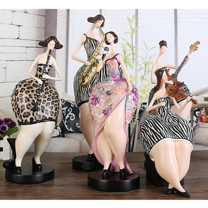 Banda nórdica belleza regordeta decoraciones de mujer artesanías sala de estar escritorio chica gorda estatuillas Oficina estatua Decoración Accesorios X3509
