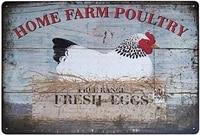 farm fresh eggs hen chicken farming tin sign diner restaurant rustic metal sign outdoor indoor wall panel poster