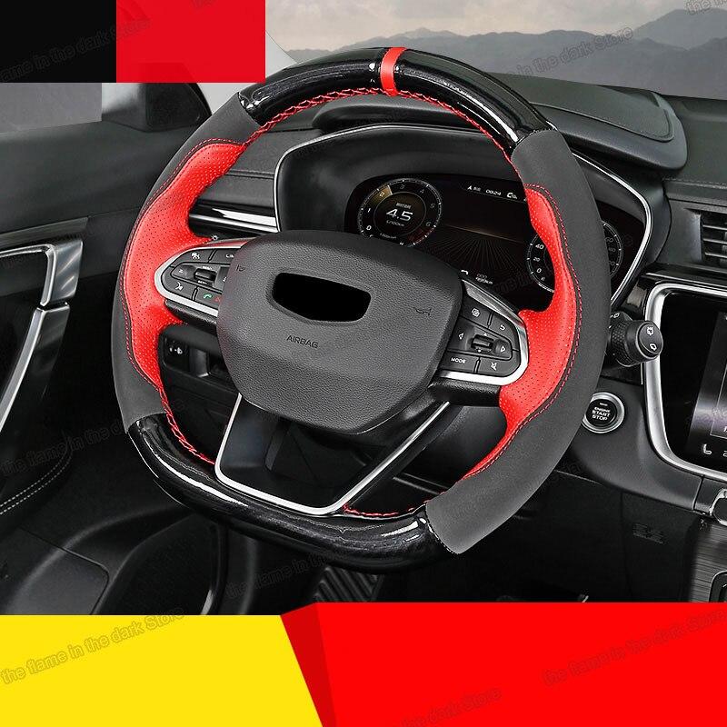 Lsrtw2017 capa de volante do carro couro fibra para geely azkarra boyue pro atlas emgrand 2020 2021 acessórios interiores