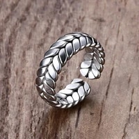 mens fashion silver color infinity ear of wheat rings minimalism adjustable opening finger ring wedding engagement ring jewelry
