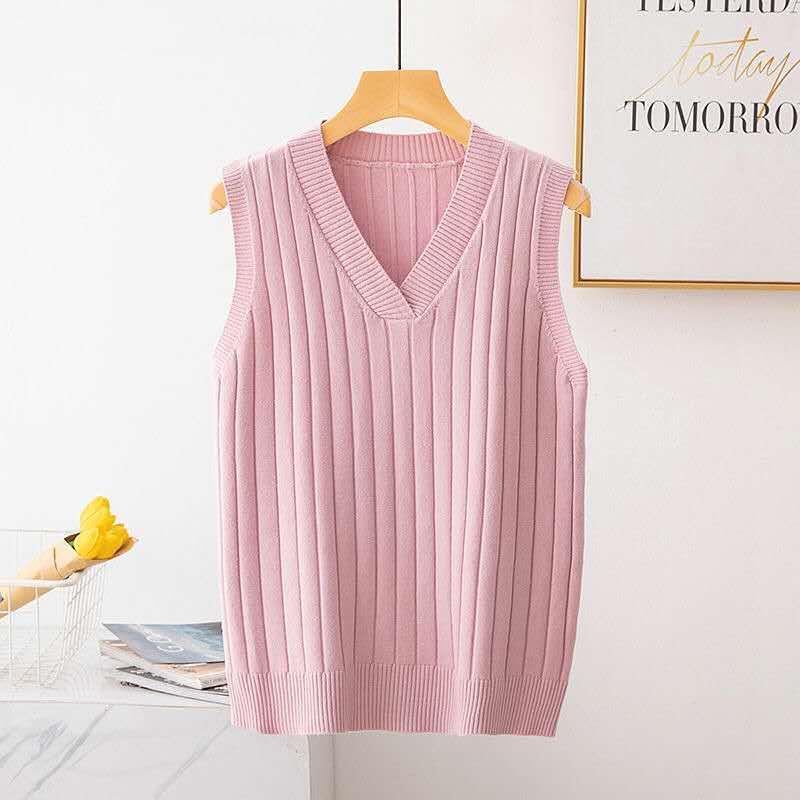 2019 colete feminino curto primavera e outono sem mangas camisola com decote em v colete engrossado camisola de caxemira de tamanho grande
