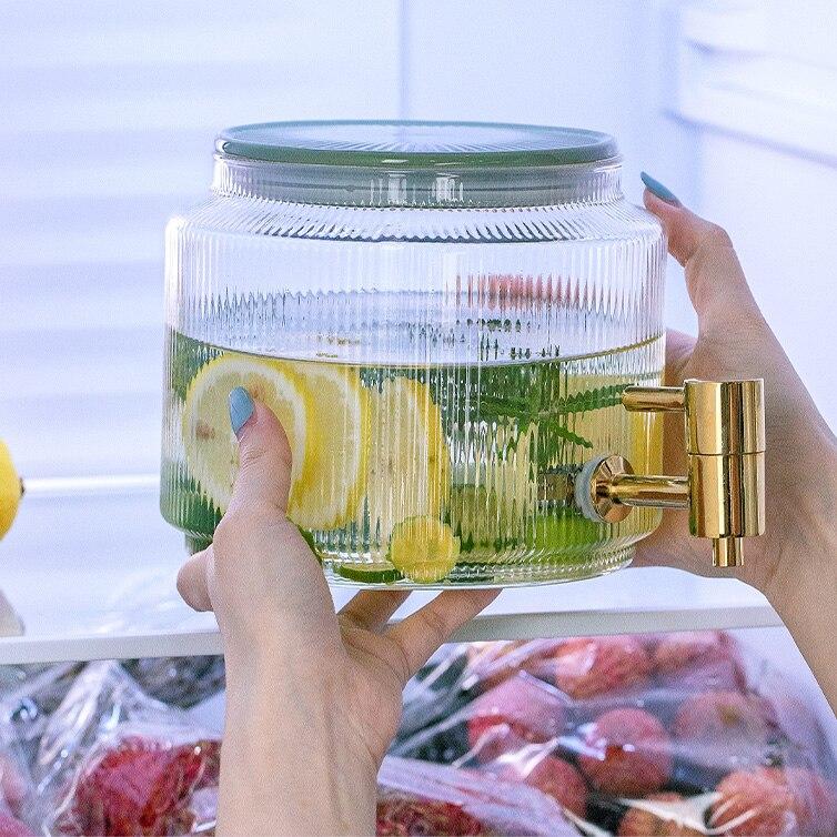 Jarra de Agua resistente al calor, refrigerador de vidrio, almacenamiento de zumo,...