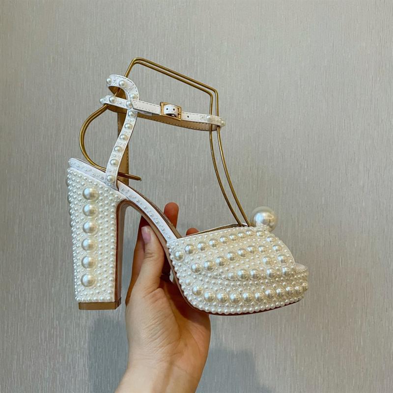 رباط الكاحل صنادل أرضية حذاء نسائي بكعب عالٍ مضخات أشار تو السيدات مضخة أنيقة لؤلؤة الصنادل حفل زفاف مضخات أحذية