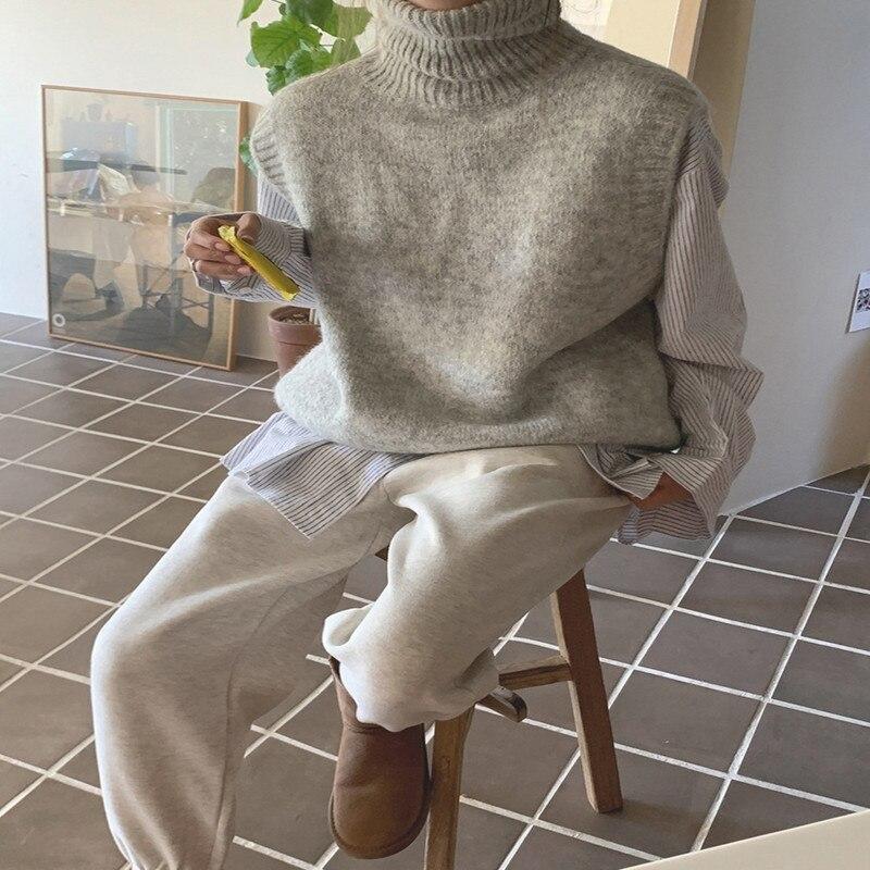 Новинка 2021, модная однотонная женская одежда в Корейском стиле, осень и зима, новинка, эластичный пояс и кашемировые брюки для отдыха с ртом