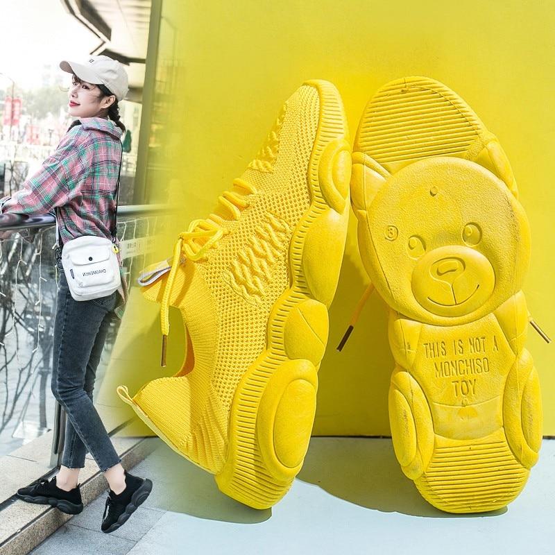 ¡Moda 2020! Zapatillas deportivas de oso pequeño, zapatos de gimnasio para Jogging para mujer, zapatos deportivos informales para mujer, zapatillas de plataforma para mujer
