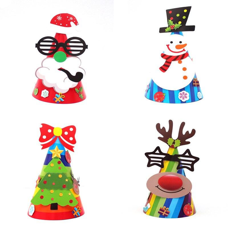 Noël bricolage jouet papier chapeau enfants dessin animé vacances fête chapeau maternelle enfants jouet Puzzle développement chapeau