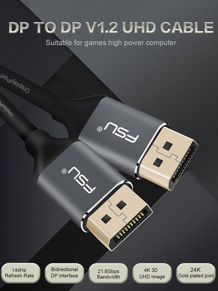 Cable Displayport 144Hz 1,2 V 4K 60Hz HD DP adaptador de pantalla de vídeo Puerto Cable para HDTV para proyector portátil 1M 1,5 M 2M 3M 5M