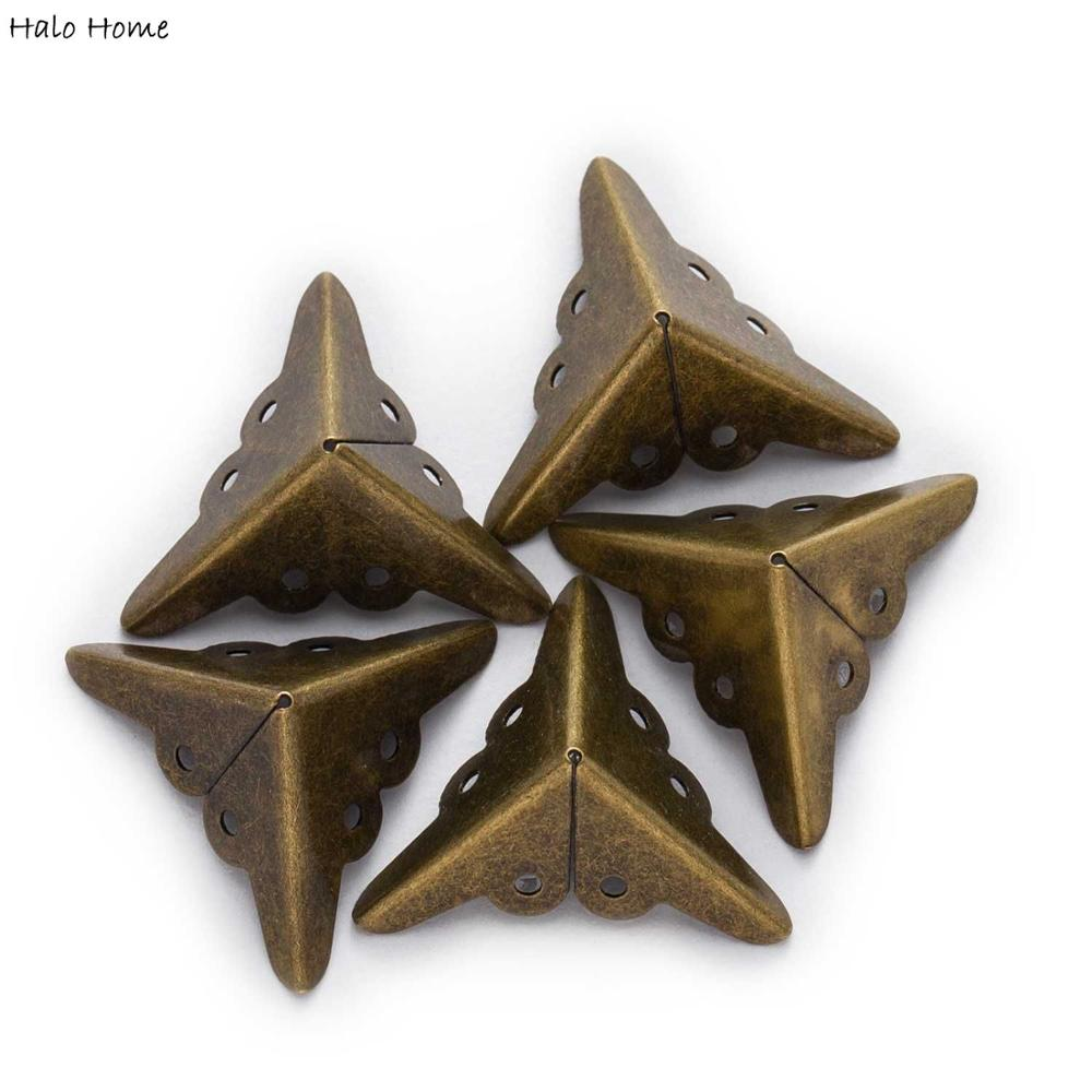 "10 Uds. Caja de bronce gabinete mesa equipaje decorativo patas de Metal madera caja protectores de esquina 18mm (6/8 "")"