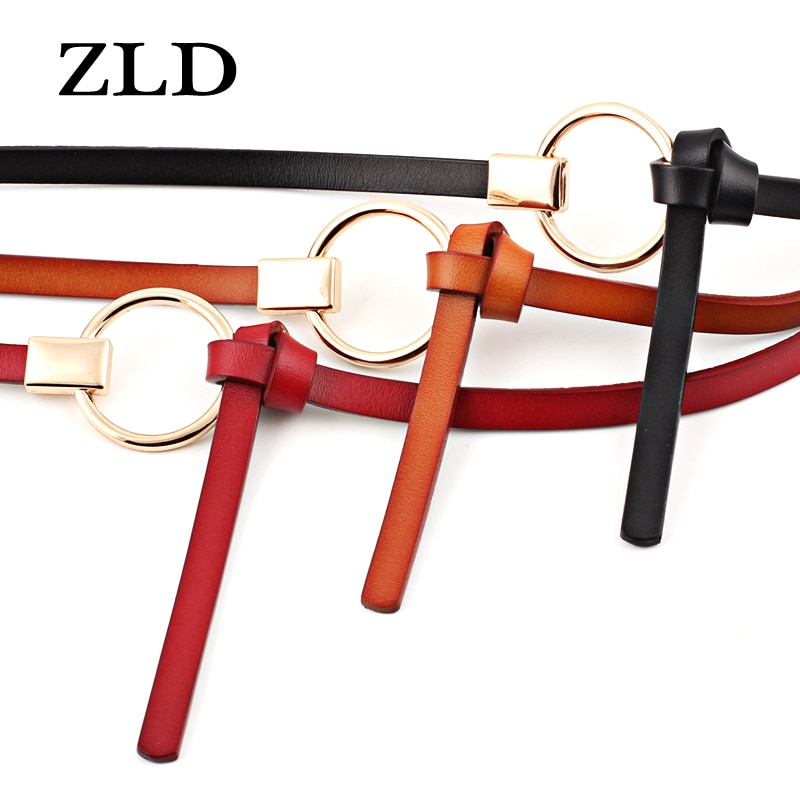 ZLD Knotted women's thin belts fashion Alloy round buckle Ladies decorative dress all-match waist belt correas para mujer
