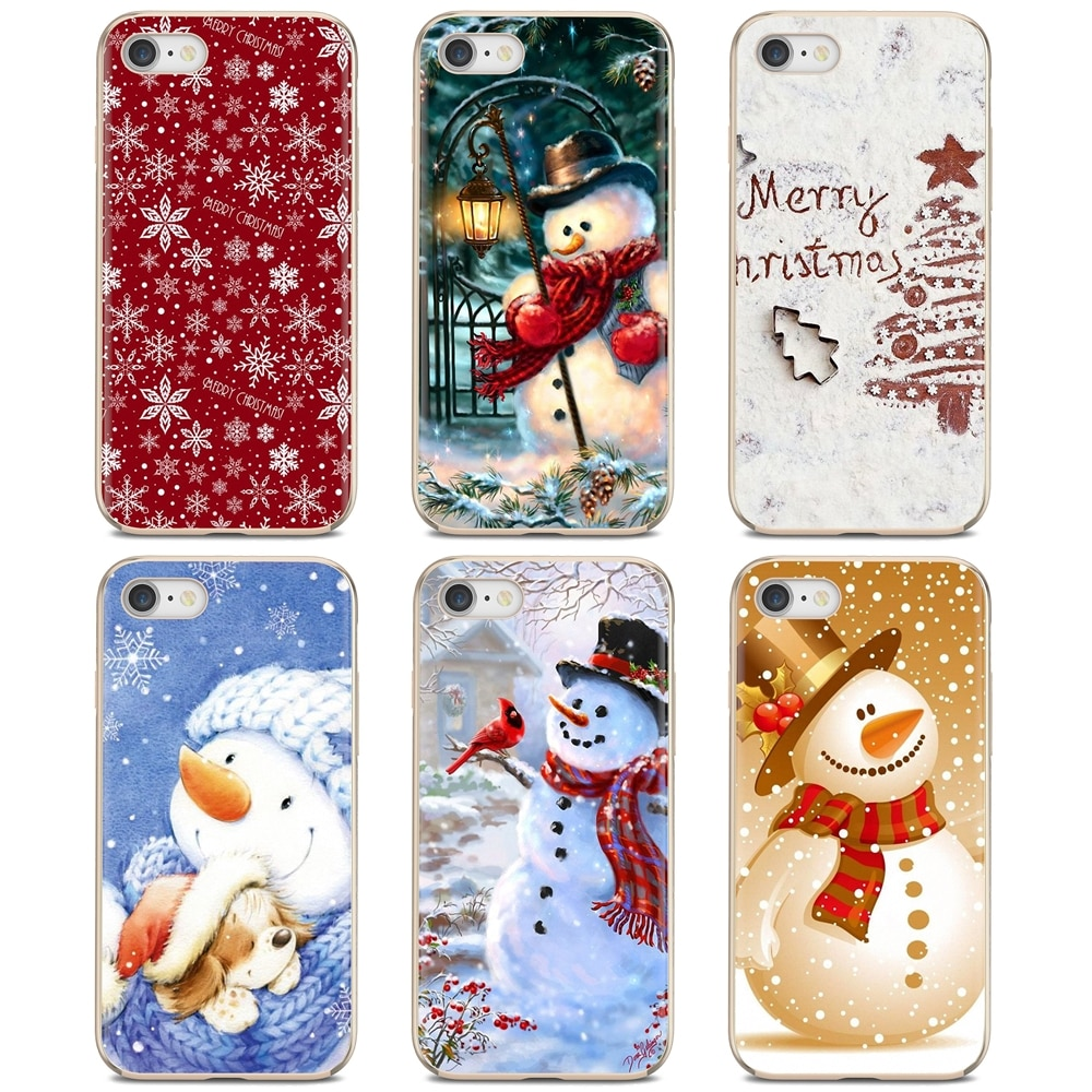 Funda de silicona para Xiaomi Redmi 4A 7A S2 Note 8 3S 4 4X 5 Plus 6 7 6A Pro Pocophone F1, regalos de Feliz Navidad, funda de silicona de Papá Noel y muñeco de nieve