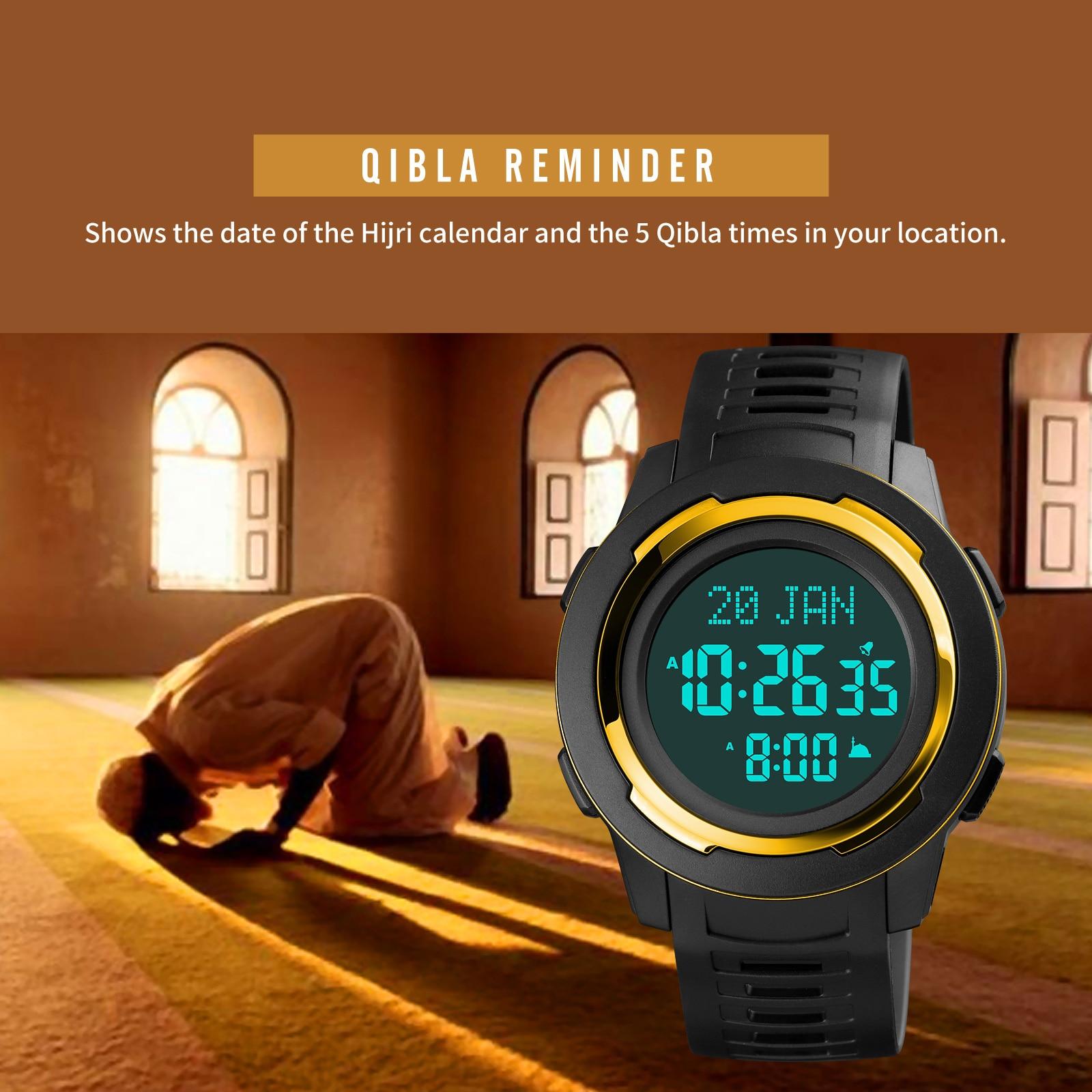 Relógios de Pulso Wach para Masculino Skmei Qibla Masculino Relógios Bússola Muçulmano Esportes Homem Digital Direção Cidade Seleção Reloj