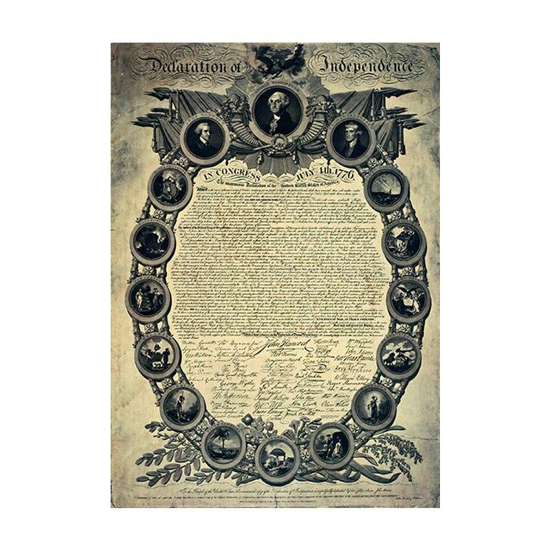 Declaración de la Independencia de Estados Unidos, todos los hombres son iguales, Papel kraft retro poster bar decoración pintura pegatinas de pared