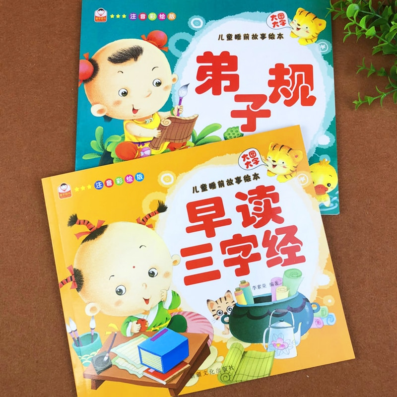 2 Volumes Three Character Classic Chinese Pictures Hanzi Pinyin Book for Kids Classic Preschool Books