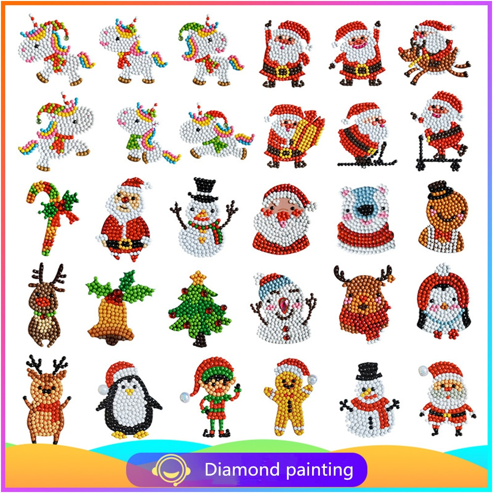 Pintura de diamante 5d Navidad modelado diamante bordado rompecabezas niños pegatina diamante pinturas pegatina regalo de Navidad