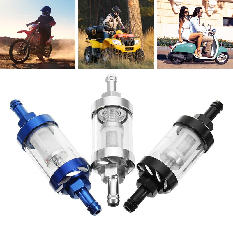 Universal Gas Fuel Filter Scooter 8mm Oil Filter Dirt  Bike Motorcycle Quad Aluminum Alloy Motorcycle Gas Fuel Oil Filter 1pcs 4color universal motorcycle oil fuel filter 1 4 6mm pit glass motorcycle atv dirt bike oil cleaner inline fuel gas filter