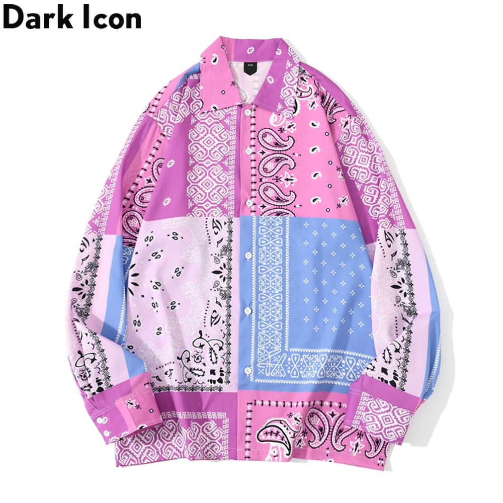 Dark Icon Pink Blue Patchwork Bandana Shirt Men Streetwear Men's Shirts Long Sleeve Male Tops