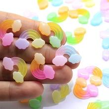 10Pcs Glitter Gradient Rainbow Flat back Resin Cabochon Flatback Resins Figure DIY Phone Case Decoration Scrapbooking Crafts