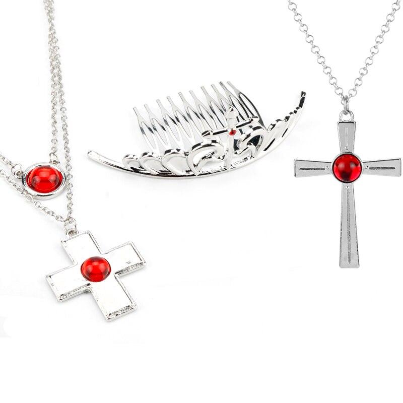 Collar con colgante de Anime de Rosario y vampiro, colgante de Cruz Roja de Akashiya Moka, collar con gargantilla de cristal para mujeres y niñas, regalos de disfraz