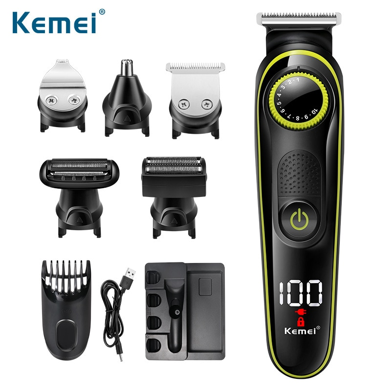 Kemei 5 in 1 LCD Hair Trimmer Household Electric Hair Clippers Multifunctional USB Rechargeable Nose