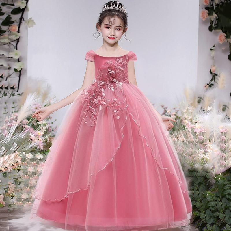 PLBBFZ-فستان الأميرة الطويل لوصيفات العروس ، ملابس الأطفال ، حفلة الزفاف ، 14 10 12 سنة