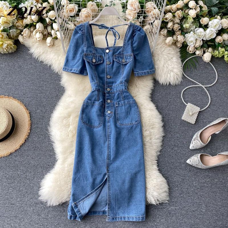 ZQLZ Summer Denim Dress Women 2020 New Slim Casual Vintage Jean Dresses Female Party Summer Clothes For Women Vestidos Mujer