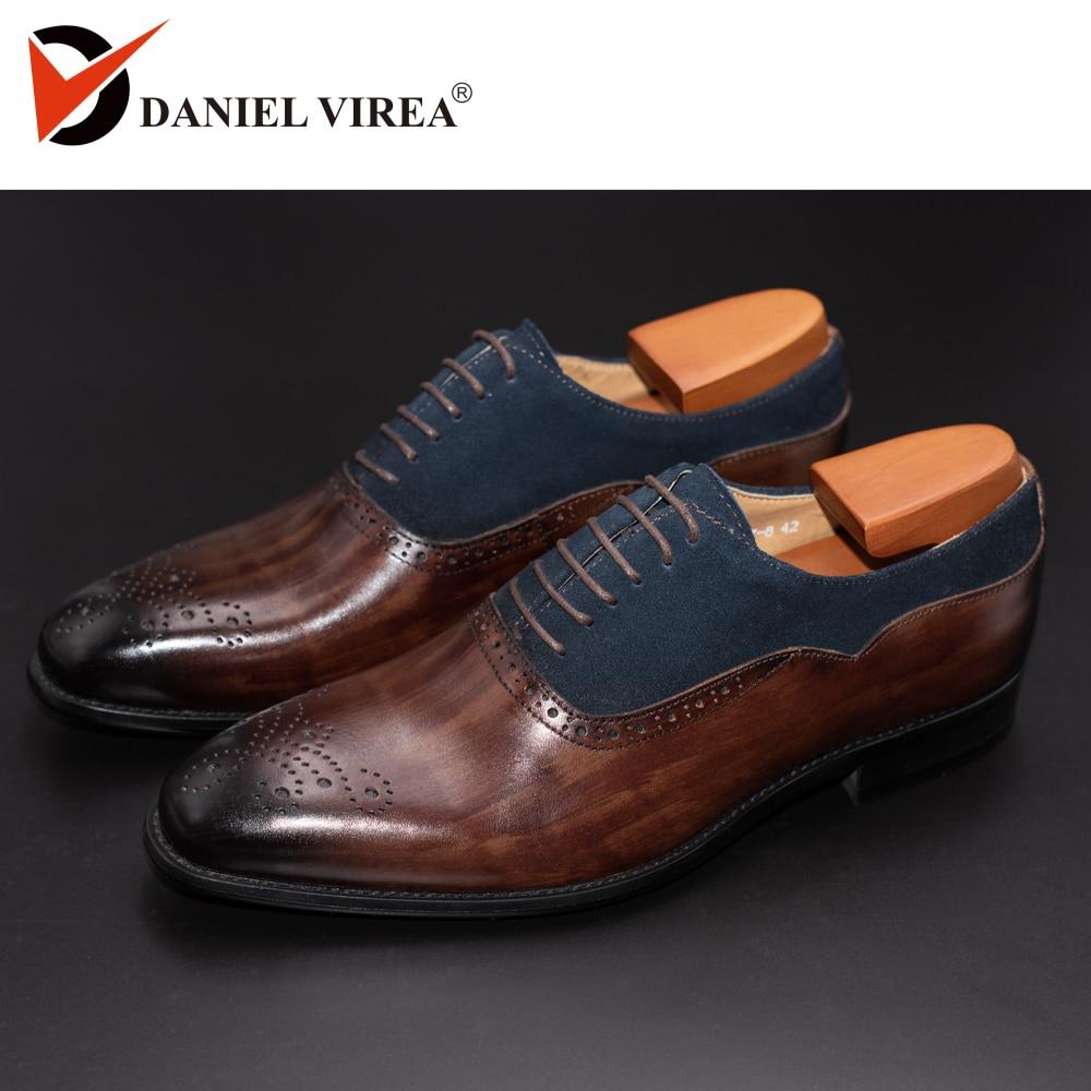 الرجال فستان أحذية جلدية مكتب الأعمال الزفاف اليدوية مختلط اللون البروغ الرسمي جولة تو أكسفورد أحذية رجالي