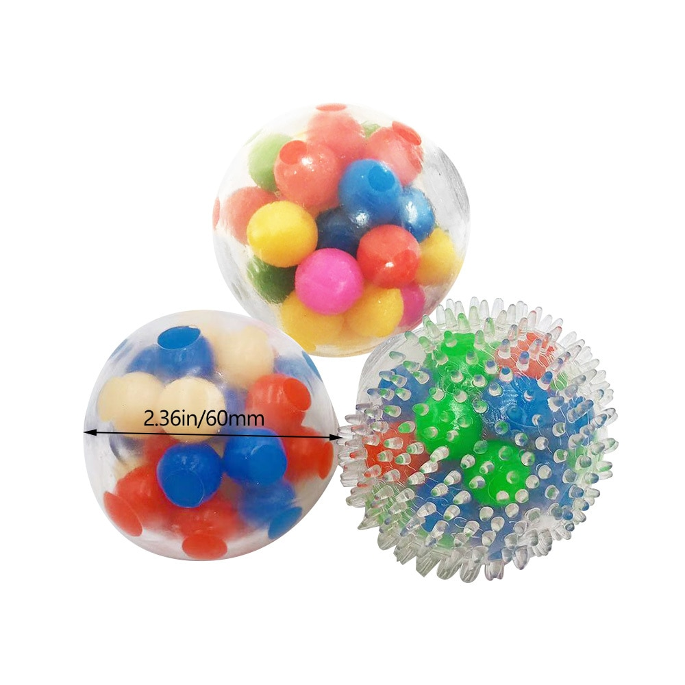 Durable EVA Spiked Massage DNA Luminous Scattered Beads Decompression Vent Ball Office Stress Relief Squeeze Ball Squishy Toy enlarge