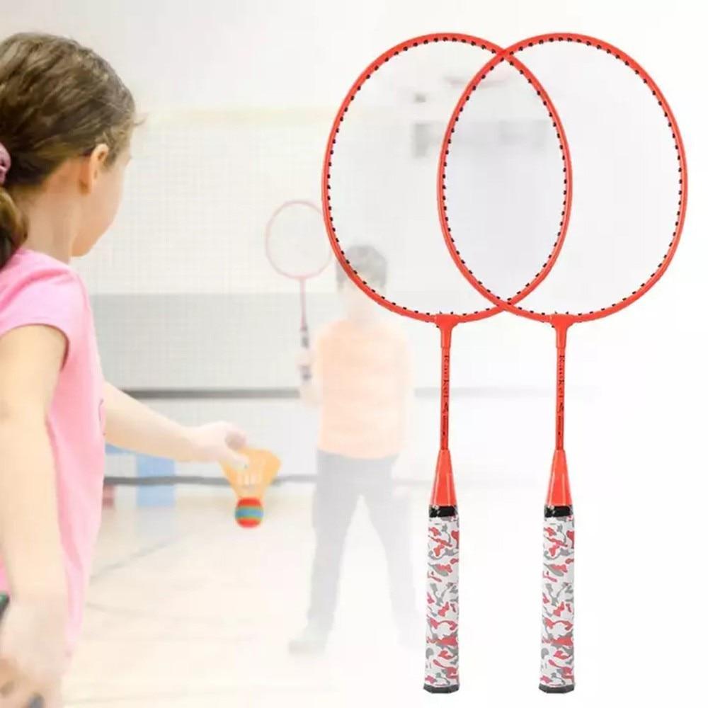 Детская ракетка для бадминтона, набор из 2 мячей, обучающие игрушки для мальчиков и девочек, антикоррозийный спортивный инвентарь без дефор...