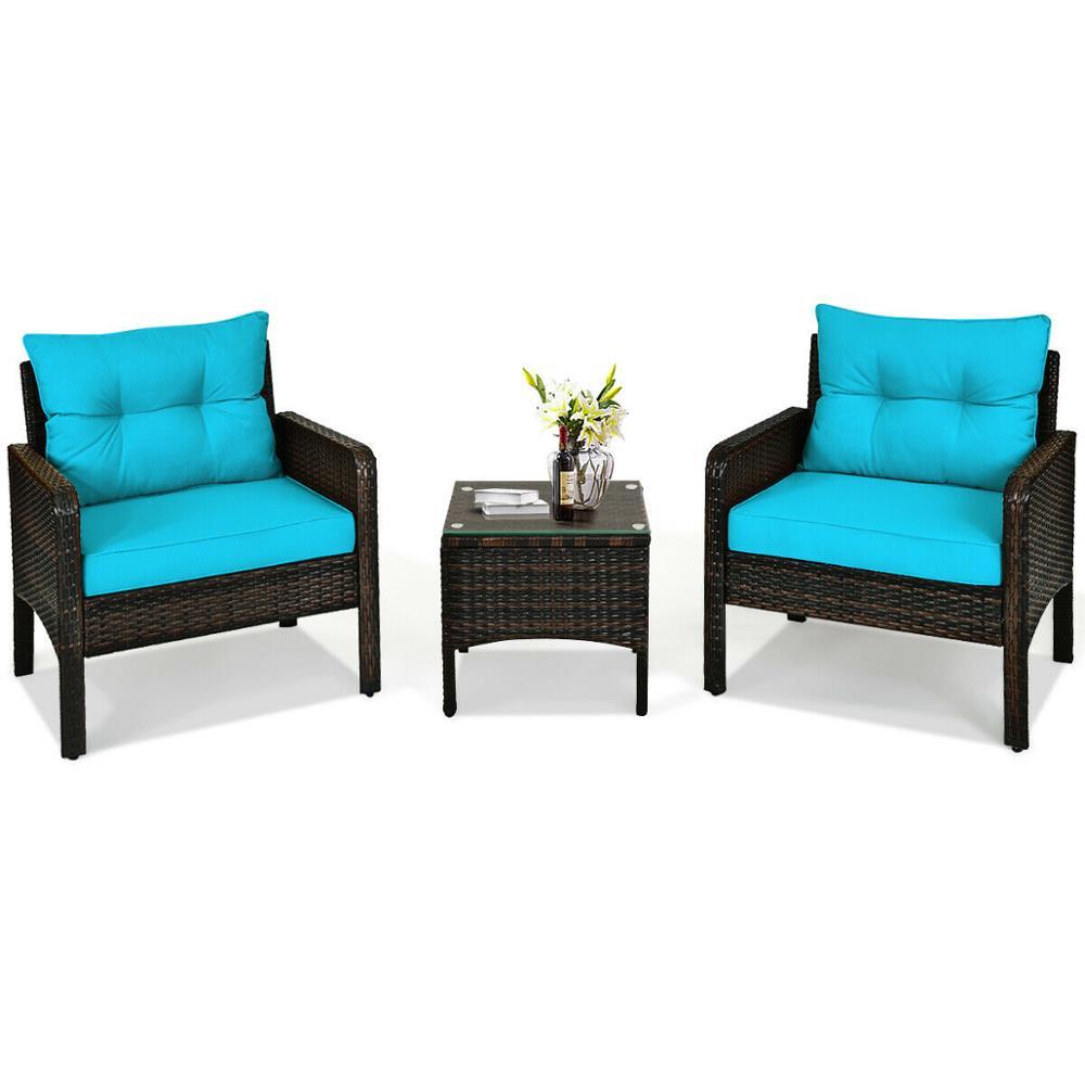 3PCS Outdoor Rattan Conversation Set Patio Garden Cushioned Sofa Chair HW63760
