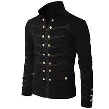 DIHOPE 2020 Vintage Solid Men Gothic Jacket Steampunk Tunic Rock Frock Uniform Male Vintage Punk  Metal Military Coat Outwear