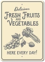 retro vintage metal sign tin sign fresh fruit and vegetables outdoor garden home bar kitchen wall decor sign 12x8inch