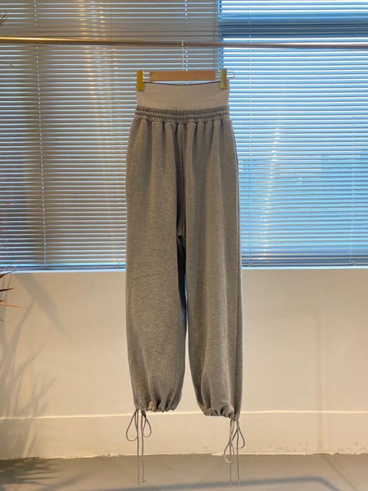 Solid Grey Black Women Sport Pants Design Splicing Waist Letter Logo High Waist Casual Loose Lace Up Leg Pants A2