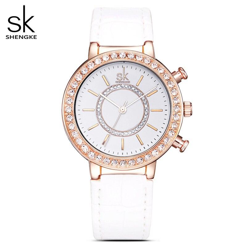 SK frauen Mode Goldene Handgelenk Uhren Red Leder Armband Top Luxus Marke Damen Genf Quarz Uhr Weibliche Armbanduhr 2020
