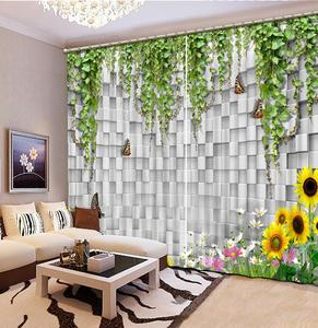 Modern 3D Curtain Printing Tree vine wall Decor Room Curtains For Window flower butterfly Curtain