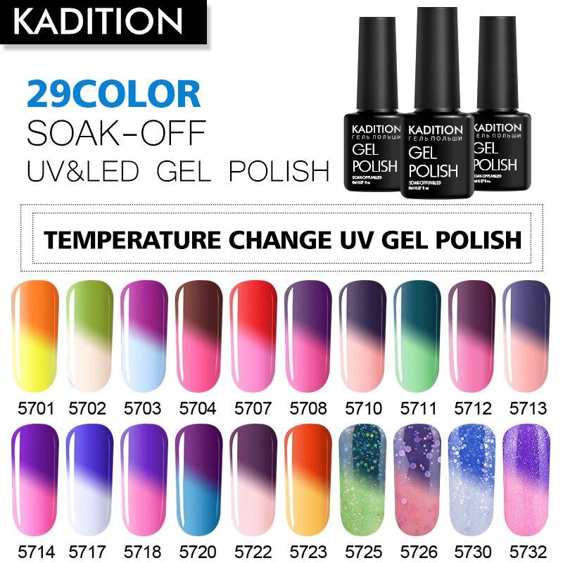 KADITION Temperature Nail Art Gel Chameleon Thermal Changing Color Gel Nail Polish Soak Off UV Gel Varnish Holographic Colorful