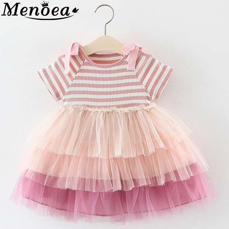 Menoea, vestido de verano 2020, vestido sin mangas con lazo a rayas para niños, bonito vestido de fiesta de malla, ropa para niñas, vestido de baile