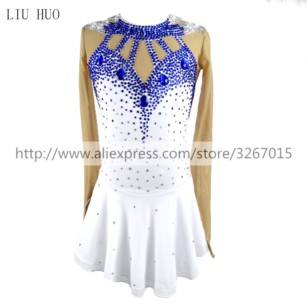 LIU HUO Figure Skating Dress Women's Girls' Ice Skating Dress Competitive performance clothing blue White Royal blue rhinestone