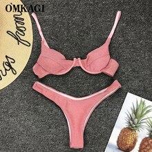 OMKAGI Bikini 2020 solide Bikini Maillot De Bain Push Up haut coupe Maillot De Bain Femme Micro Bikinis brillant Sexy Maillot De Bain Bikini pour Femme