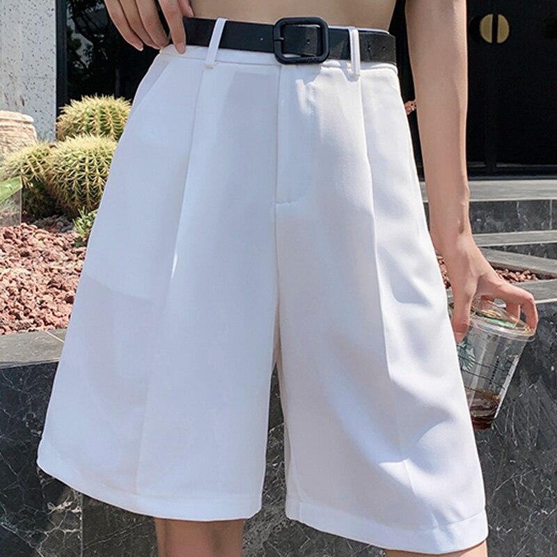 Pantalones cortos de cintura alta para mujer, verano 2020, Pantalón corto recto liso Formal a la moda, pantalón de pierna ancha coreano para mujer, nuevos pantalones cortos con bolsillos