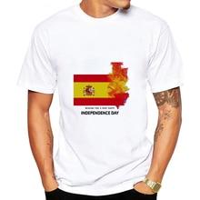 Dlrn été plus récent drapeau espagnol imprimé T-shirt hommes décontracté à manches courtes haut col en o blanc T-shirt football espagne drapeau mode