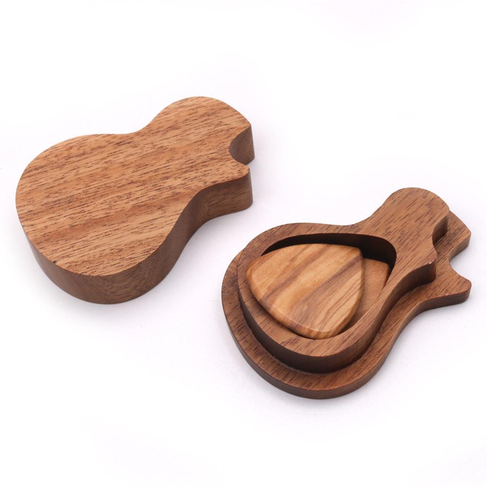 Guitar Picking Storage Box Set Musical Instrument Accessories Guitar Wood Picks Set Portable Paddle Storage Box Tool