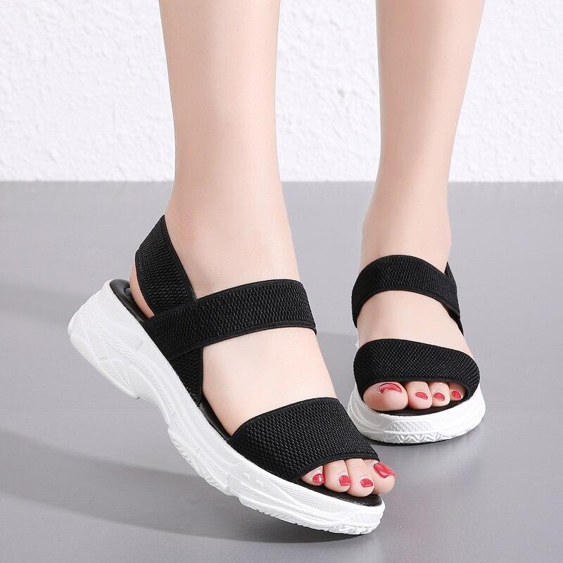 Damyuan/женские босоножки на платформе размера плюс 35-45; Женская обувь без шнуровки на гибкой подошве; Босоножки на платформе; Женская удобная о...
