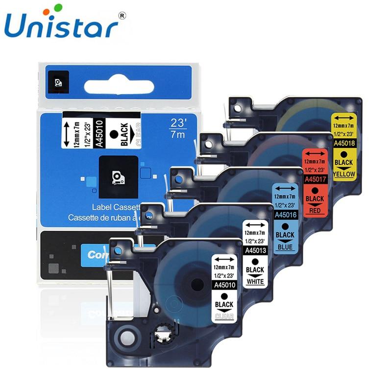 Unistar Compatible para cinta tipo Dymo 12mm 45013, 45010, 45018, 45023 etiqueta impresora de etiquetas portátil LabelManager 210, 280, 300, 450